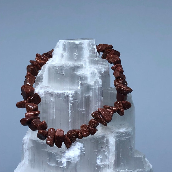 Goldstone Crystal Chip Bracelet - LMG Rocks and Crystals