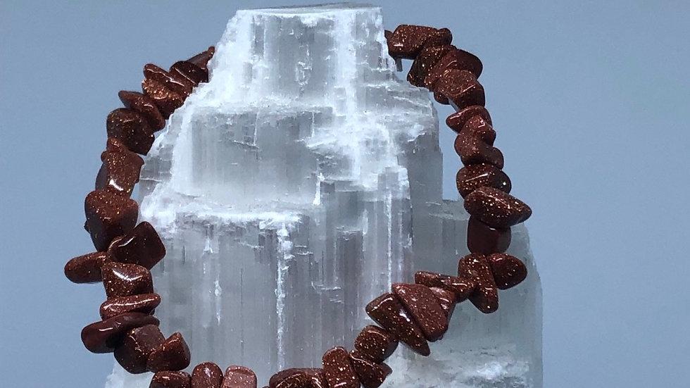 Goldstone Crystal Chip Bracelet - LMG Rocks and Crystals