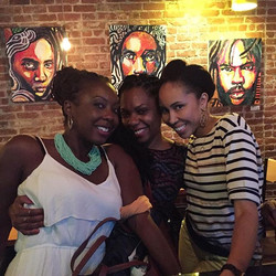 A throwback pic of Sorors Pascale, Sheridan, and Taahira having sisterly bonding time