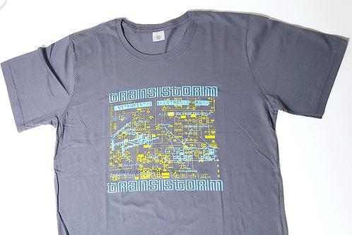 Camiseta Transistorm cinza, estampa azul e amarela