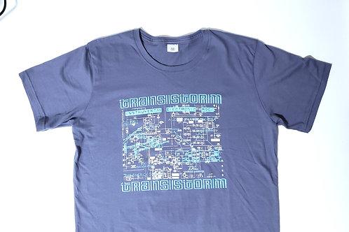 Camiseta Transistorm cinza, estampa azul e branca