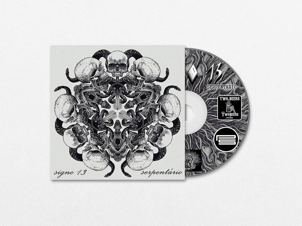 Capa e disco do álbum Serpentário, da banda Signo 13