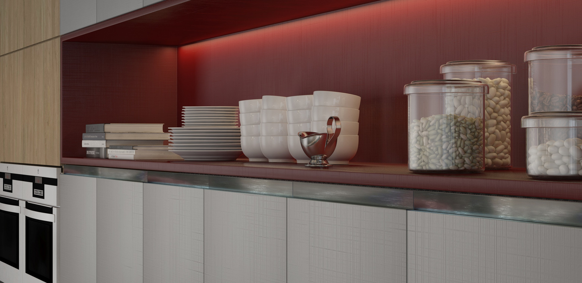 coz14 cozinha planejada vermelho led  pl