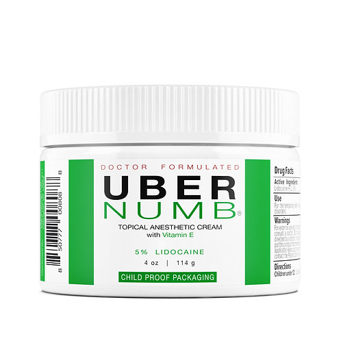Uber Numb - 5% Lidocaine Pain Relief Cream - 4 oz