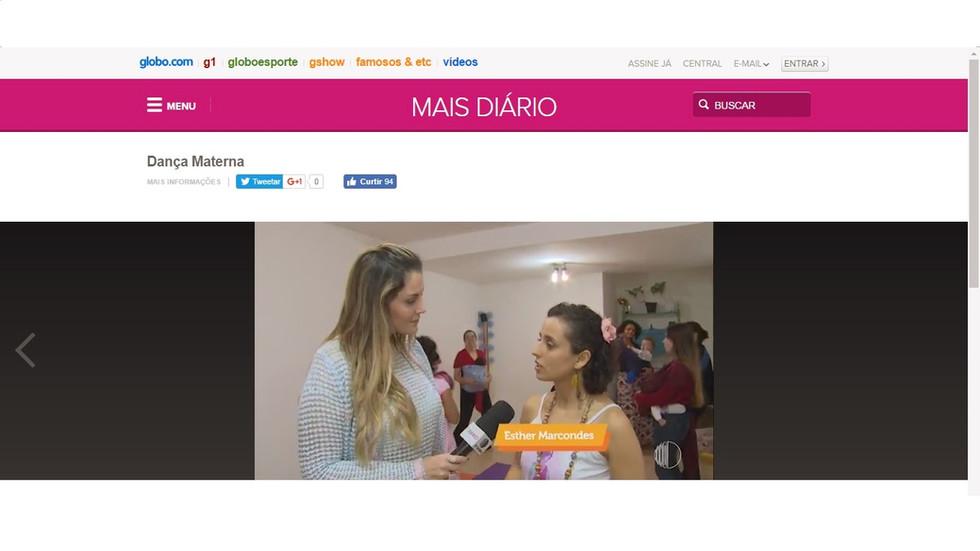 Dança Materna no Programa Mais Diário - Rede Globo