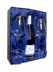 dárková krabice pro 2 ks sklenic Rebbeca 350/460 ml a 1ks láhve Vašeho vína