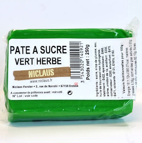 Pâte à sucre VERT HERBE 250g