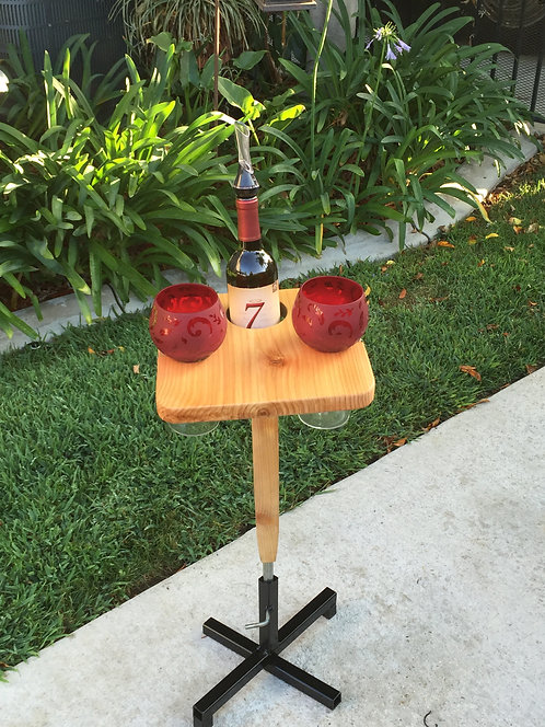 Square Wine Table with Metal Stand