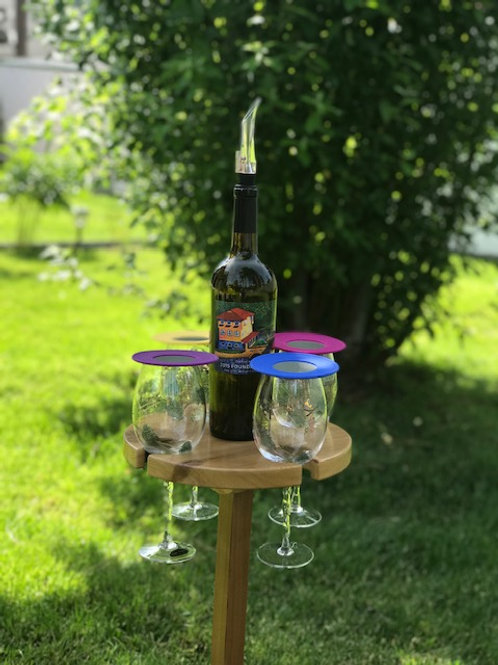 Wine Drop Table - 4 glass with Metal Stand