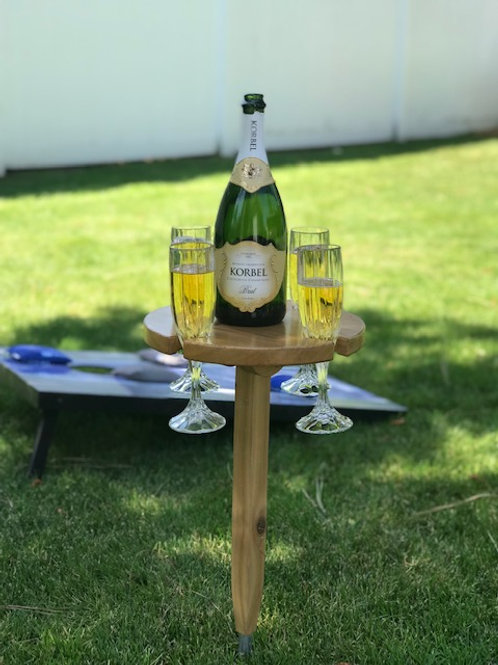 Champagne/ Wine Drop Table - 4 glass with Metal Stand