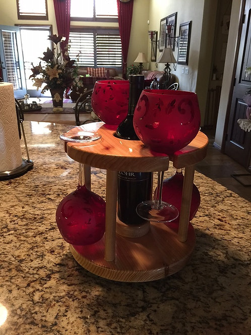 Red Wine Caddy Lazy Susan