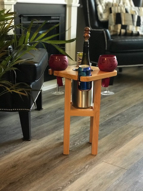 Corner Social Stool with Stainless Wine Chiller