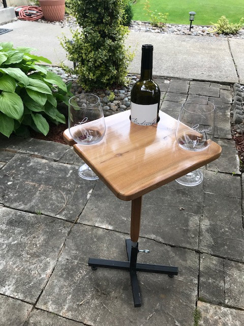 Diamond Wine Table with Metal Stand