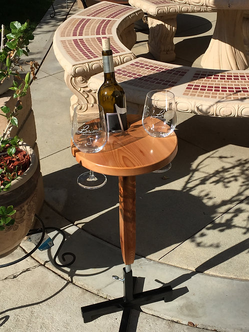 Round Wine Table with Metal Stand
