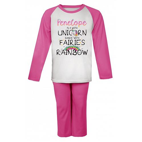Personalised Fly With Unicorns Pyjamas