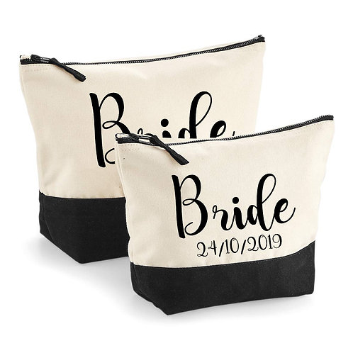 Personalised Bride Contrast Make Up Pouch