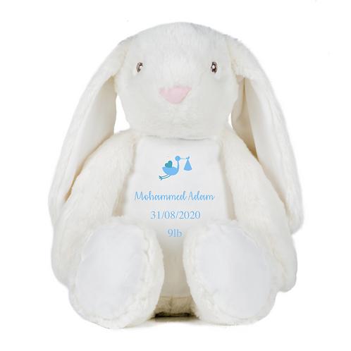 Personalised Stork Birth Details Teddy - Rabbit