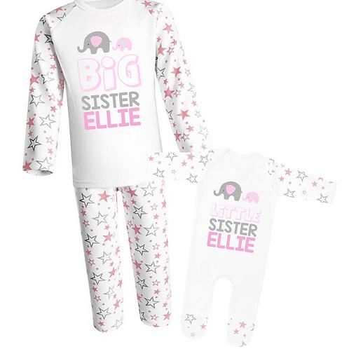 Personalised Big Sister and Little Sister Pyjamas - Elephant