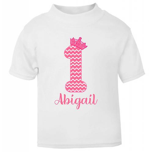Personalised Princess Pattern Birthday T-shirt