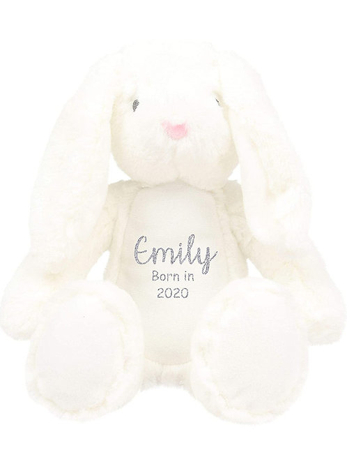 Personalised Born in 2021 Baby Teddy -White Bunny