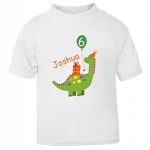 Personalised Birthday Dinosaur T-shirt
