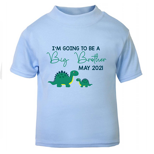 Personalised I'm Going To Be A Big Brother Dinosaur T-shirt
