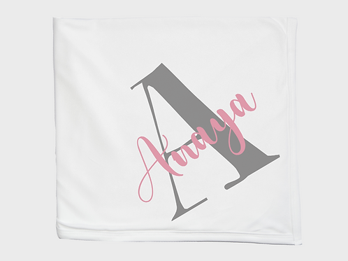 Letter and Name Pink Baby Blanket