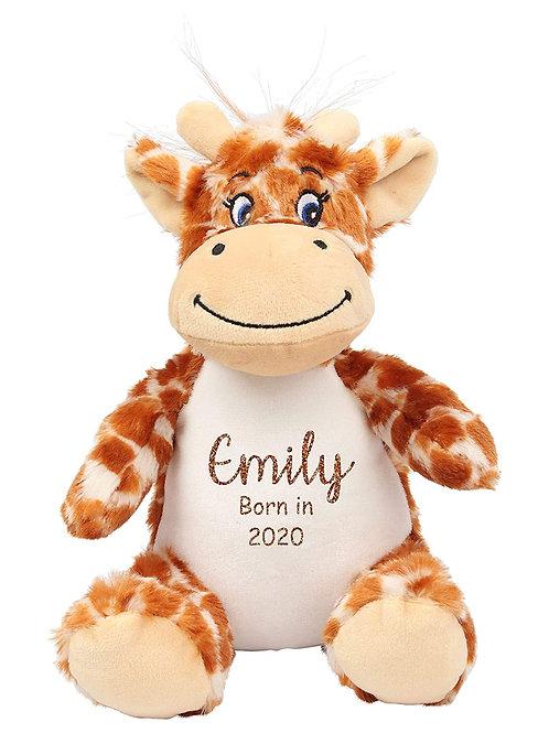 Personalised Born in 2021 Baby Teddy - Giraffe