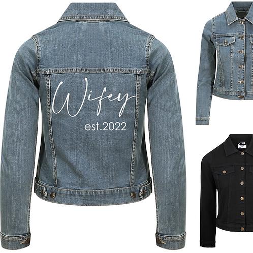 Personalised Wifey Ladies Denim Jacket