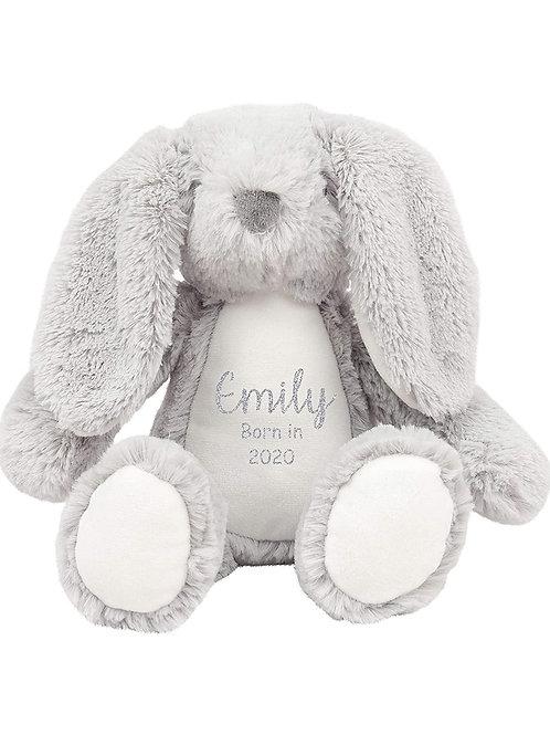Personalised Born in 2021 Baby Teddy - Grey Bunny