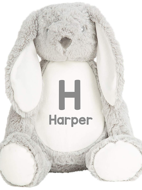 Personalised Initial and Name Teddy - Grey Bunny