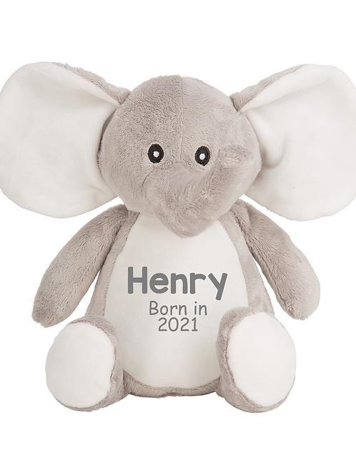 Personalised Born in 2021 Baby Teddy - Elephant