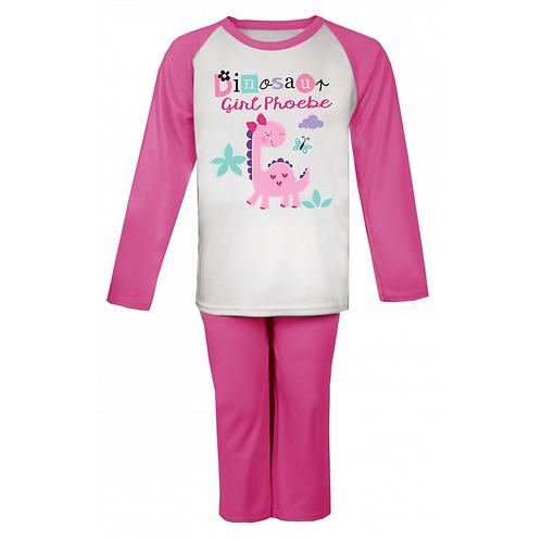 Dinosaur Girl Personalised Pyjamas
