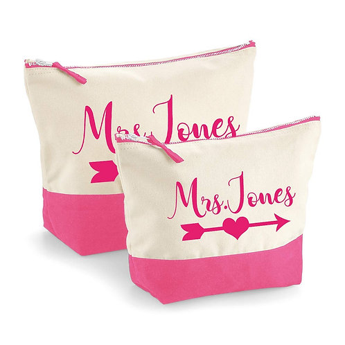 Personalised Mrs. Contrast Make Up Pouch
