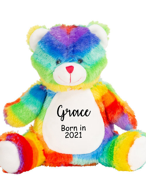 Personalised Born in 2021 Baby Teddy - Rainbow Bear
