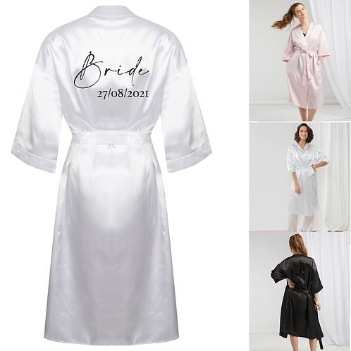 Personalised Bride Satin Robe - Glitter
