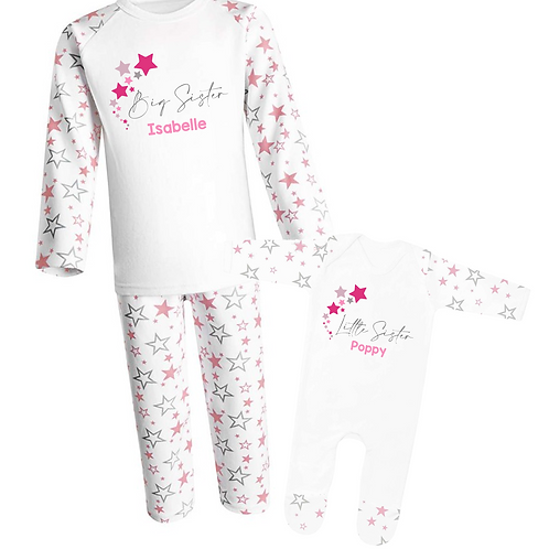 Personalised Big Sister and Little Sister Pyjamas - Stars