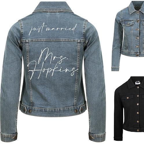 Personalised Just Married Ladies Denim Jacket