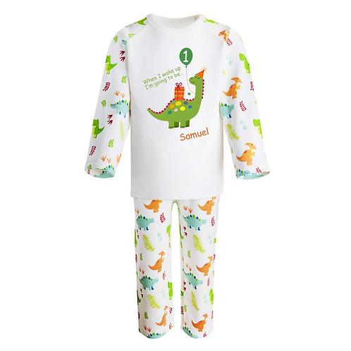 Personalised When I wake up Pyjamas -Dinosaur