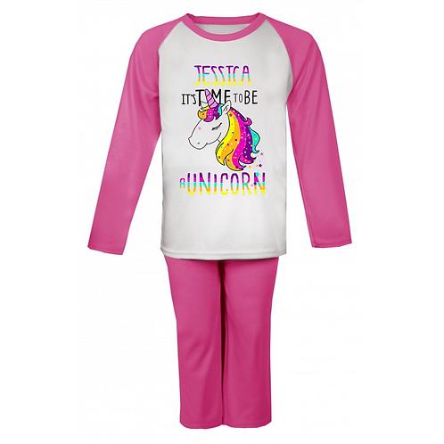 Time to be a Unicorn Personalised Pyjamas