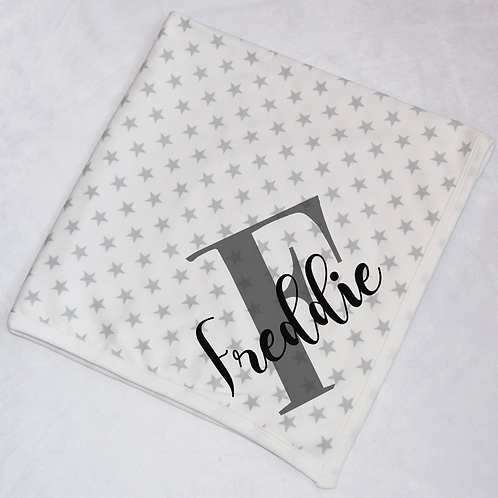 Initial and Name Luxury Star Baby Blanket