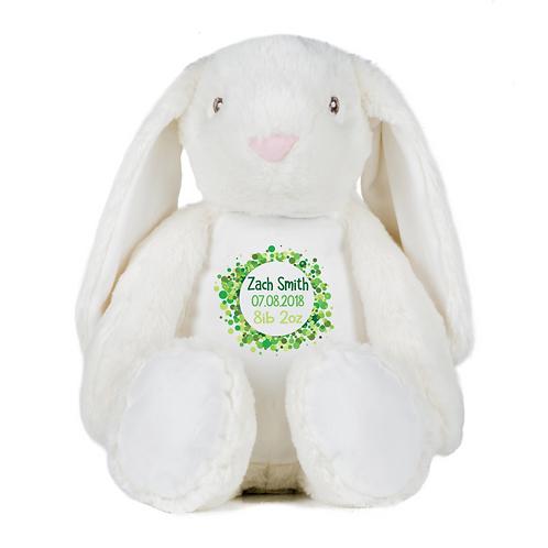 Personalised Green Birth Details Teddy - Rabbit