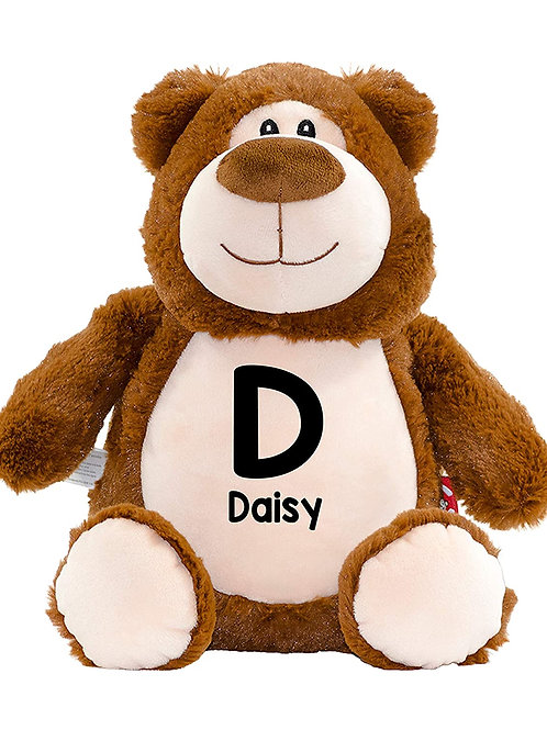 Personalised Initial and Name Teddy - Brown Bear