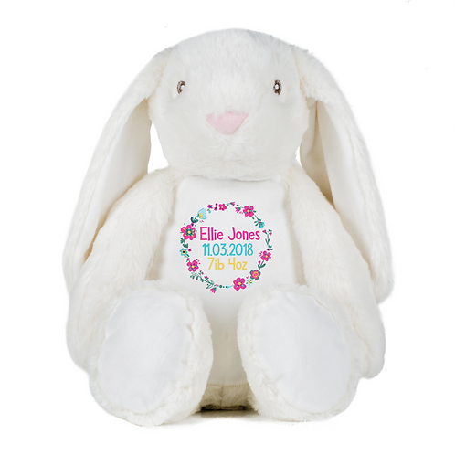 Personalised Colourful Birth Details Teddy - Rabbit