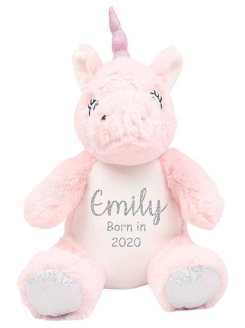 Personalised Born in 2021 Baby Teddy - Unicorn