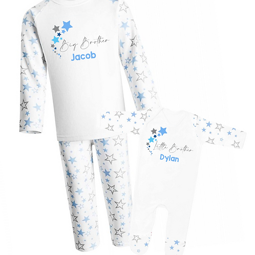 Personalised Big Brother and Little Brother Pyjamas - Stars