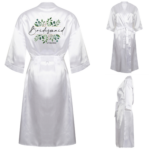 Personalised Bridesmaid Satin Robe - Flowers