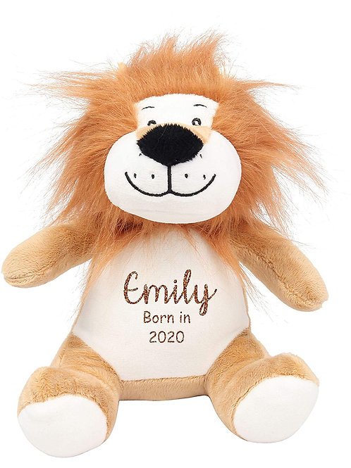 Personalised Born in 2021 Baby Teddy - Lion