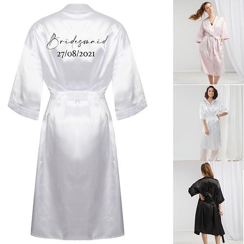 Personalised Bridesmaid Satin Robe - Glitter