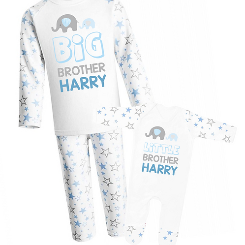 Personalised Big Brother and Little Brother Pyjamas - Elephant